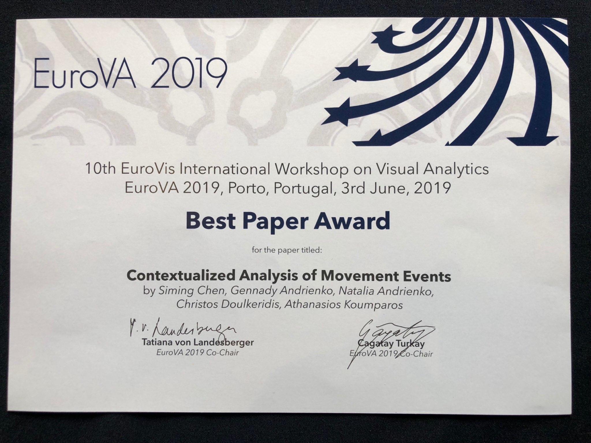 EUROVA 2019 Best Paper Award 2019